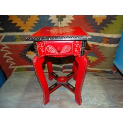 Small red and black pedestal table 1 drawer (45 cm high)