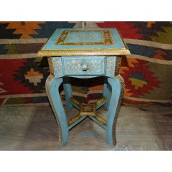 Small pedestal table blue and pistachio green 1 drawer (45 cm high)