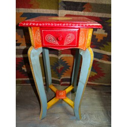 Large multicolored pedestal table with 1 drawer (60 cm high)