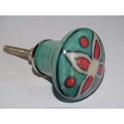 turquoise green pear-shaped button and red flower