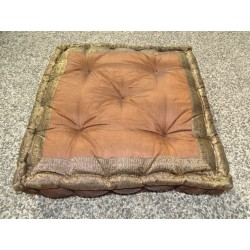 Brown chocolate brocade edge cushion 57x57 cm