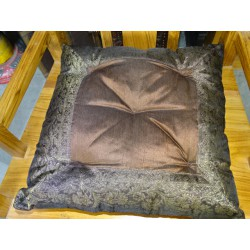 Chocolate brown chocolate brocard edges chair cushion 38x38 cm