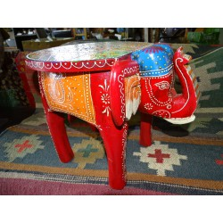 Hand painted elephant stool or end table - 2