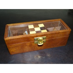 Glazed box of 3 Chinese wooden puzzles