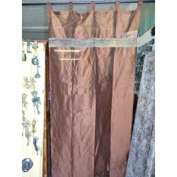 Chocolate brown taffeta curtains with a brocade band