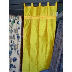 Orange-yellow taffeta curtains with a brocade band