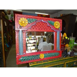 Multicolored mirror with painted and hand-carved arch 68x60 cm