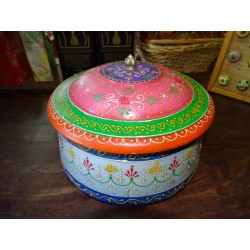 Round box multicolored hand painted 13x8x7 cm