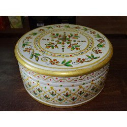 Round box hand painted in white and gold diameter 24 cm