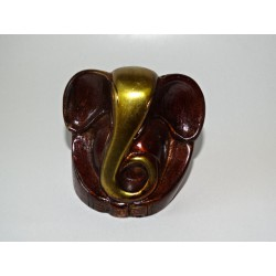 Small patinated modern ganesh in gold and brown - 5 cm