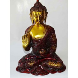 Large bronze statue of the golden and brown medicine Buddha - 30 cm