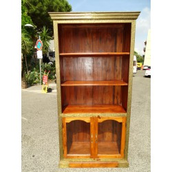 Teak bookcase with brass ornament and two glass doors