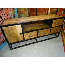 Flat tv cabinet with 4 drawers and 1 door in recycled teak and steel