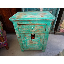 Turquoise bedside table with louvered door and 1 drawer