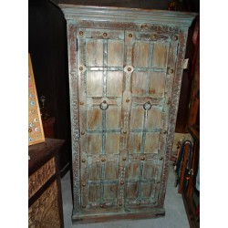 Large rosewood cabinet with metal crosspieces