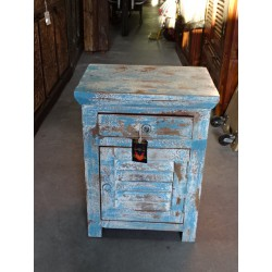 Turquoise bedside with louvered door and 1 drawer cracked paint