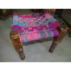 Indian stool with seat in multicolor rope - 2