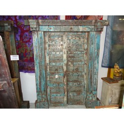 old door of house turquoise