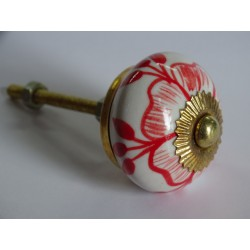 Drawer knobs with red drawn flowers
