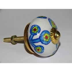 White drawer or door knobs with turquoise flowers