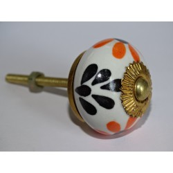 Drawer or door knobs with black and orange flowers