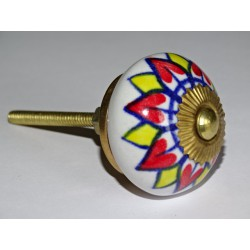 Drawer or door knobs with red and yellow sunflower
