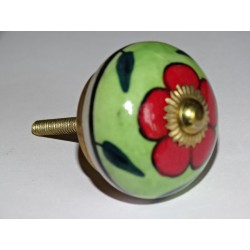 Spring green drawer or door knobs and red flower