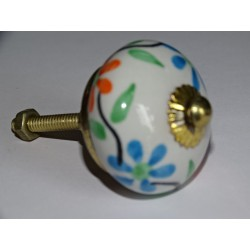 Orange and turquoise drawer knobs or flower holders