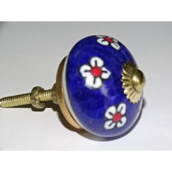 Ultramarine blue and white flower drawer knobs or door