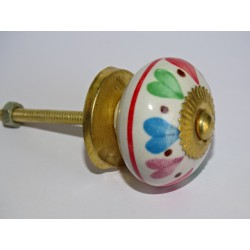 Drawer or door knobs with multicolored hearts