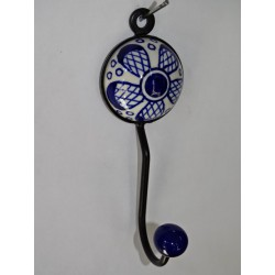 round coat hook porcelain large ultramarine blue flower