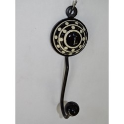 round coat hook with embossed black dots
