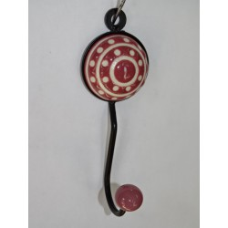 round coat hook with embossed burgundy polka dots
