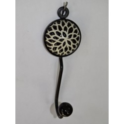 round coat hook with embossed black sunflower flower