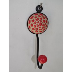 round coat hook with embossed red sunflower flower