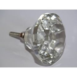 DIAMOND-shaped glass button 45 mm transparent
