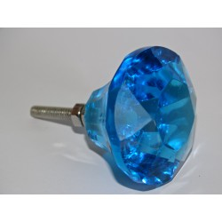 DIAMOND-shaped glass button 45 mm turquoise