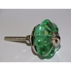 35 mm glass pumpkin button light green color - silver