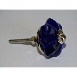 35 mm ultramarine blue glass pumpkin button - silver