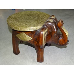 Rosewood and brass elephant stool or end table - 29 cm