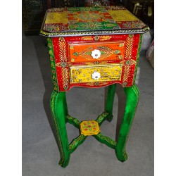 High nightstand 2 drawers hand painted in relief - 76 cm