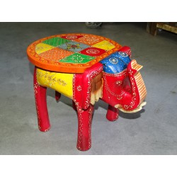Stool with elephant pattern and multicolored checkerboard hand painted - 39 cm