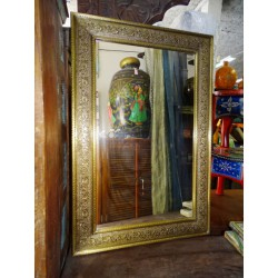 Large mirror covered with brass leaf  61 x 92 cm