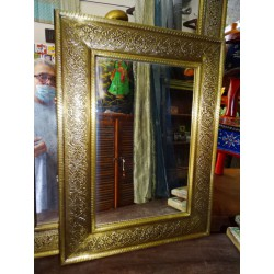 Mirror covered with brass leaf 46 x 61 cm
