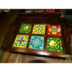 Small rosewood top with ceramic tiles