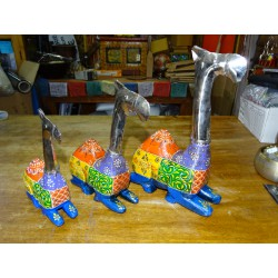 Set of 3 metal and wood camels carved and painted by hand