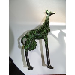 Giraffe handle in black bronze with green patina - 22 cm