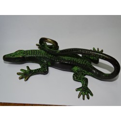 Large black lizard bronze handle with green patina - right