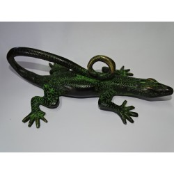 Large black lizard bronze handle with green patina - left