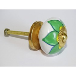 Porcelain drawer or door knobs with green and yellow flower